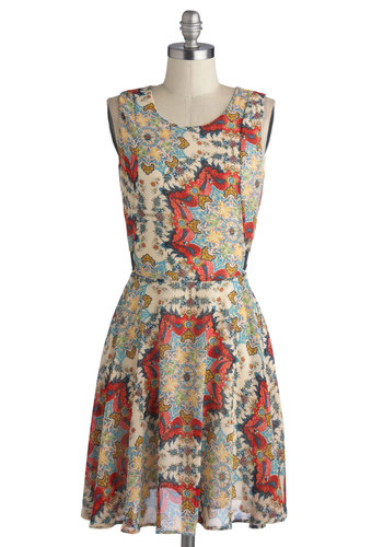 Let Me Elaborate Dress - Mid-length, Chiffon, Woven, Red, Yellow, Blue, Print, Casual, A-line, Sleeveless, Good, Scoop, Multi, Tan / Cream, Boho, Social Placements