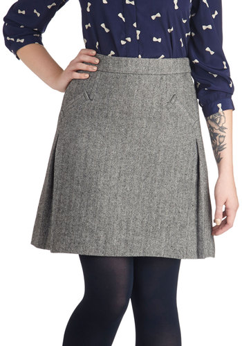 School of Style Skirt by Myrtlewood - Private Label, Grey, Herringbone, Work, A-line, Exclusives, Pockets, Scholastic/Collegiate, Woven, Grey