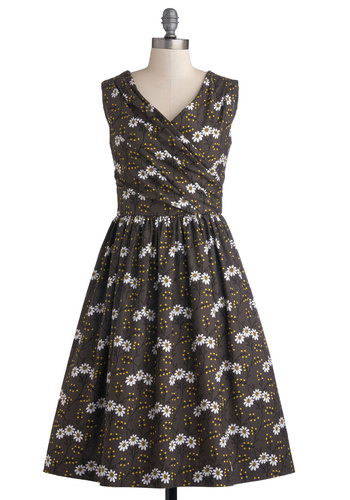 Garden Gambol Dress by Bea & Dot - Cotton, Woven, Long, Grey, Yellow, Black, White, Floral, Pockets, Party, A-line, Sleeveless, Better, V Neck, Exclusives, Private Label