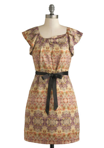 Poetry of Life Dress - Multi, Orange, Purple, Pink, Tan / Cream, Belted, Cap Sleeves, Mid-length, Woven, Floral, Pockets, Daytime Party, Scoop