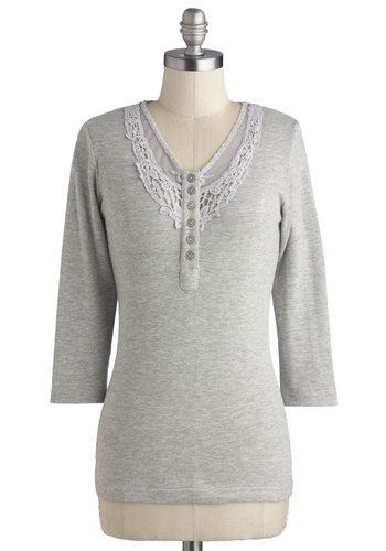 Errand and Again Top - Grey, Solid, 3/4 Sleeve, Better, Cotton, Knit, Mid-length, Buttons, Crochet, Casual, V Neck, Grey, 3/4 Sleeve