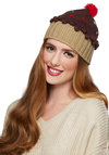 Sweet Getup Hat in Chocolate - Brown, Red, Yellow, Blue, Kawaii, Better, Knit, Tan / Cream, Novelty Print, Poms, Casual, Quirky, Winter, Variation