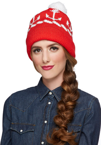 A Love That Masts Hat - Red, White, Poms, Nautical, Fall, Winter, Better, Novelty Print, Casual, Knit, 90s, Holiday