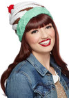 Ask a Flavor Hat - Red, Brown, White, Poms, Kawaii, Better, Knit, Multi, Mint, Novelty Print, Knitted, Quirky, Winter