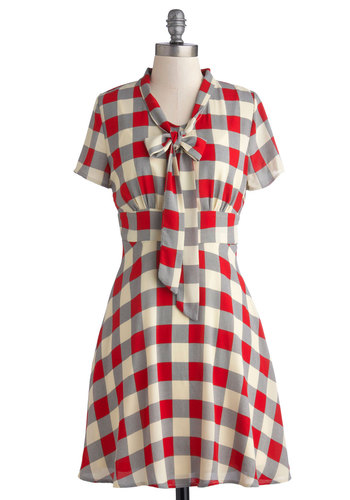 Think Out Laud Dress in Plaid - Mid-length, Knit, Woven, Exclusives, Red, Blue, Tan / Cream, Grey, Checkered / Gingham, Tie Neck, Casual, A-line, Short Sleeves, Better, Multi, Work, Scholastic/Collegiate, Winter