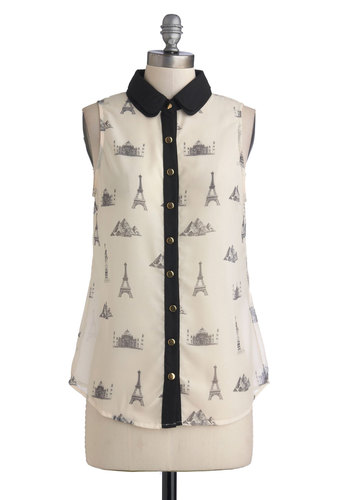Wanders of the World Top by Sugarhill Boutique - Mid-length, Chiffon, Sheer, Woven, Cream, Black, Novelty Print, Buttons, Casual, French / Victorian, Button Down, Sleeveless, Collared