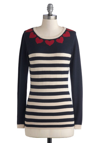 Bake Sale Away Sweater by Sugarhill Boutique - Mid-length, Knit, Blue, Red, White, Stripes, Casual, Long Sleeve, Scoop, Valentine's, Blue, Long Sleeve