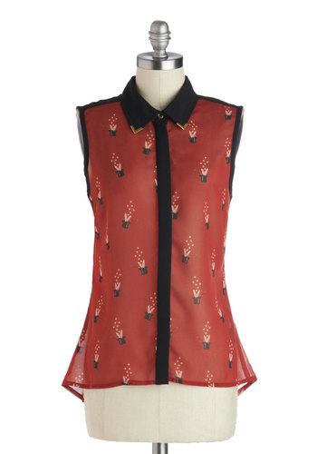 It's an Illusion Top by Sugarhill Boutique - Mid-length, Chiffon, Sheer, Woven, Red, Black, Novelty Print, Casual, Sleeveless, Collared, Red, Sleeveless