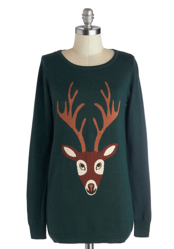From Deer to Eternity Sweater by Sugarhill Boutique - Print with Animals, Long, Knit, Green, Brown, Casual, Long Sleeve, Fall, Winter, Scoop, Holiday, Green, Long Sleeve