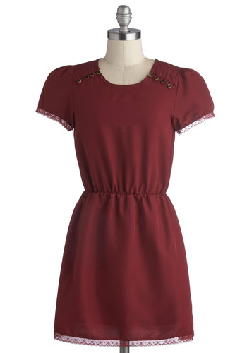 What's Up, Doctor? Dress - Short, Woven, Red, Solid, Buttons, Party, A-line, Short Sleeves, Good, Scoop, Lace, Daytime Party, Valentine's