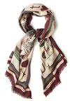 Clever Move Scarf by Nice Things - International Designer, Best, Multi, Red, Green, Tan / Cream, Novelty Print, Casual