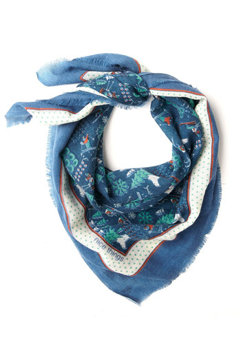 South Face Flair Scarf by Nice Things - International Designer, Woven, Blue, Multi, Print, Best, Novelty Print, Folk Art, Holiday
