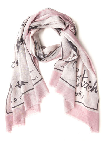 Flightless is More Scarf by Nice Things - Print with Animals, International Designer, Woven, Pink, Grey