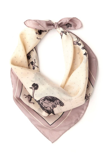 Fashion's Afoot Scarf by Nice Things - Pink, Multi, Print with Animals, International Designer, Woven