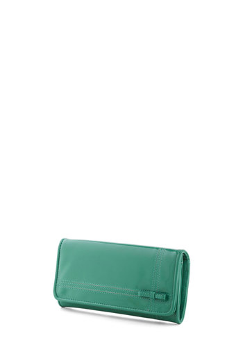 Bow Your Worth Wallet by Nice Things - Green, Solid, Bows, International Designer, Faux Leather