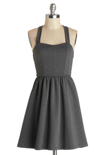 Sashimi Now Dress - Short, Knit, Grey, Solid, Bows, Exposed zipper, A-line, Racerback, Good, Sweetheart, Party