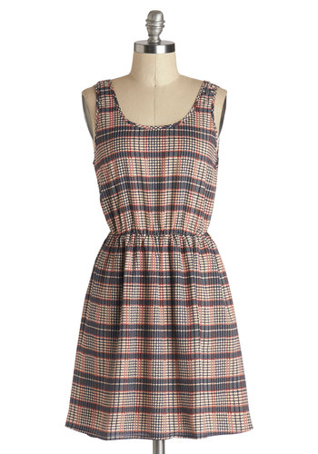 Plaid Party Dress - Woven, Short, Red, Blue, Tan / Cream, Plaid, Bows, Casual, A-line, Tank top (2 thick straps), Good, Scoop