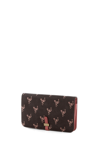 Strike it Ostrich Wallet by Nice Things - Grey, Pink, Print with Animals, International Designer, Faux Leather