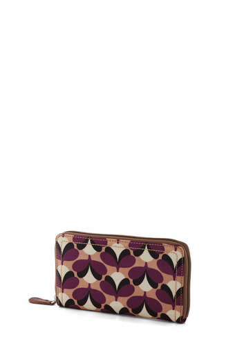 Orla Kiely Pocket Change of Pace Wallet by Orla Kiely - Brown, White, Print, Vintage Inspired, 60s, Mod, International Designer, Cotton, Leather, Multi, Purple, Tan / Cream, Black