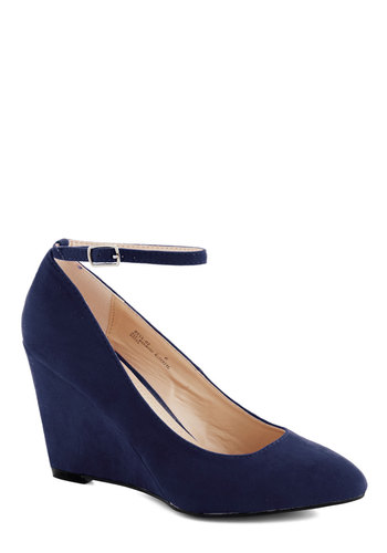 A Wink of Whimsical Wedge in Blue - Blue, Solid, Wedding, Work, Daytime Party, Graduation, High, Good, Wedge, Minimal, Faux Leather, Variation