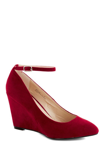 A Wink of Whimsical Wedge in Red - Red, Solid, Work, Daytime Party, High, Good, Wedge, Wedding, Graduation, Faux Leather, Minimal, Variation