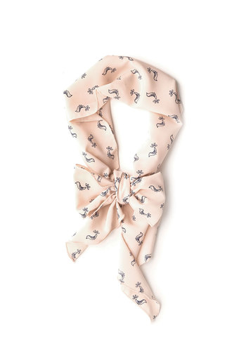 Partridge for the Course Scarf - Pink, Blue, Print with Animals, Pastel, Woven