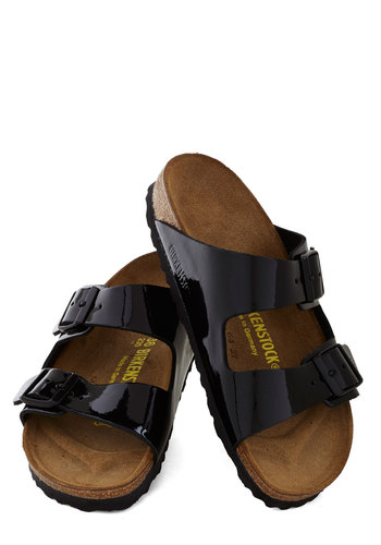 Strappy Camper Sandal in Patent Back by Birkenstock - Black, Solid, Buckles, Flat, Minimal, Best, Summer, Leather