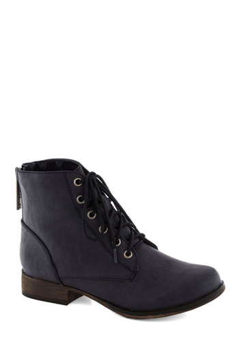 Make Manifest Boot in Navy - Blue, Solid, Low, Good, Lace Up, Faux Leather, Casual, Military, Variation