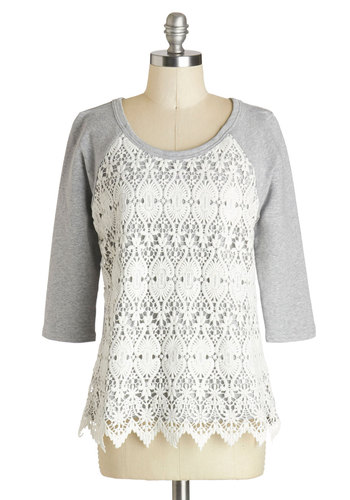 Innovative Idea Sweater - Grey, Tan / Cream, Lace, Casual, Mid-length, Knit, 3/4 Sleeve, White, 3/4 Sleeve, Lace