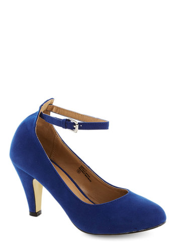 Anywhere You Jaunt Heel in Sapphire - Blue, Solid, Work, Daytime Party, Mid, Good, Variation, Basic