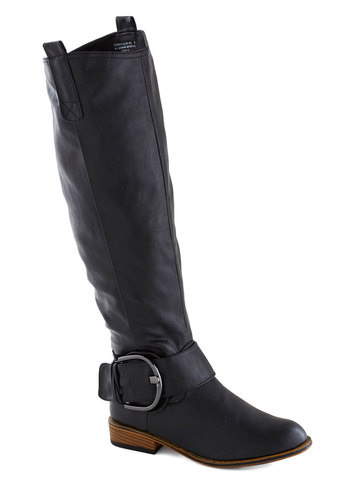 Swift Gears Boot in Black - Black, Buckles, Faux Leather, Low, Faux Fur, Good, Fall, Variation