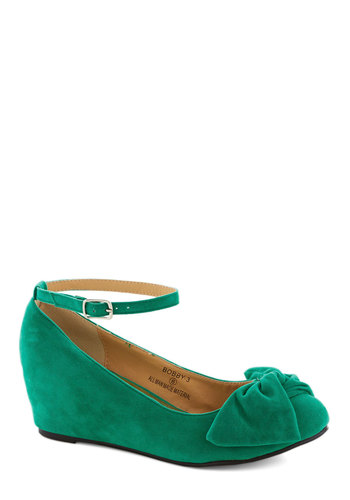 Such a Doll Wedge in Green - Green, Solid, Bows, Daytime Party, Mid, Good, Wedge, Variation, Top Rated