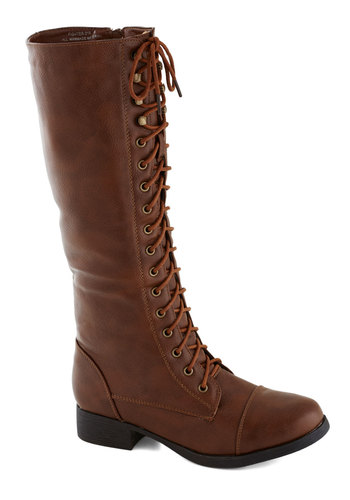 Melodic Moment Boot in Brown - Solid, Steampunk, Low, Lace Up, Faux Leather, Good, Brown, Casual, Military, Fall, Variation