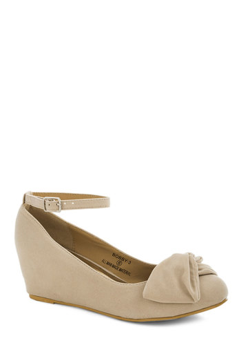 Such a Doll Wedge in Cream - Solid, Bows, Daytime Party, Mid, Good, Wedge, Cream, Work, Graduation, Variation, Top Rated