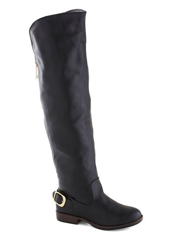 Side by Sidecar Boot in Black - Black, Solid, Buckles, Faux Leather, Low, Good, Fall, Winter, Over the Knee, WPI