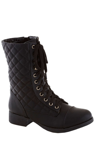 Quadratic Occasion Boot - Black, Solid, Quilted, Low, Faux Leather, Lace Up, Good, Casual, Military