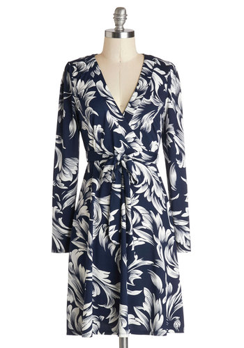 Are We There Vignette? Dress - Knit, Blue, White, Floral, Belted, Casual, Wrap, Long Sleeve, Good, V Neck, Work, Mid-length