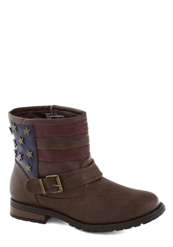Star-spangled Strut Boot - Brown, Red, Blue, Novelty Print, Buckles, Faux Leather, Low, Good, Casual, Military