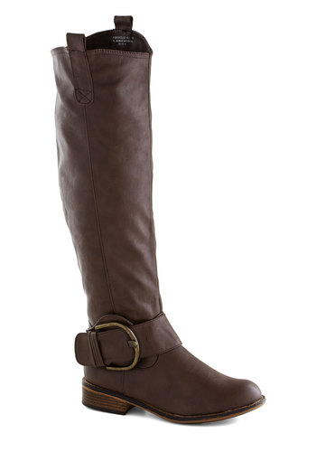 Swift Gears Boot in Brown - Brown, Solid, Buckles, Low, Faux Leather, Faux Fur, Good, Fall, Variation