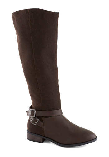 Couture Cocoa Boot - Brown, Buckles, Low, Faux Leather, Faux Fur, Good, Solid, Fall, Winter