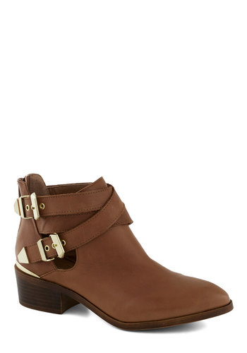 Scoundrel Bootie by Seychelles - Low, Leather, Tan, Buckles, Better, Gold