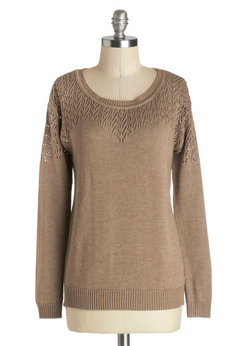 Cinnamon Roll Hug Sweater in Taupe - Solid, Long Sleeve, Better, Mid-length, Sheer, Knit, Tan, Casual, Fall, Scoop, Variation, Brown, Long Sleeve