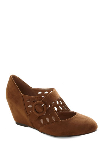 Sprig Deal Wedge - Tan, Cutout, Work, Mid, Good, Wedge, Faux Leather, Solid, Vintage Inspired, 20s, 30s, Mary Jane, Folk Art, Top Rated