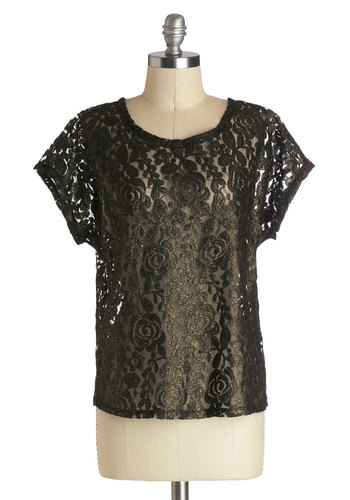 Orchestrate Your Look Top - Black, Gold, Floral, Short Sleeves, Better, Mid-length, Sheer, Woven, Lace, Black, Short Sleeve, Holiday Party