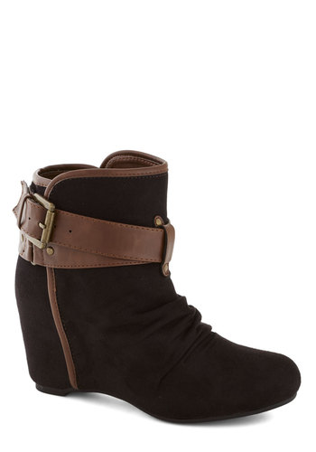 Buckled Up With Style Bootie - Black, Tan / Cream, Buckles, Trim, Good, Wedge, High, Ruching, Faux Leather