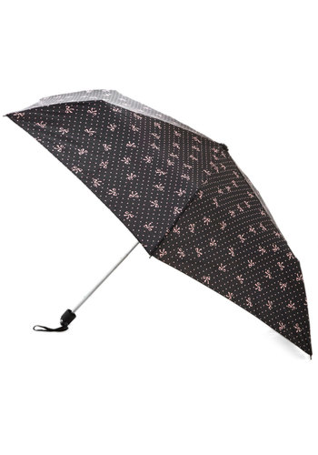 Adoring Rain Umbrella by Louche - Black, Pink, Polka Dots, Bows, Novelty Print, Spring
