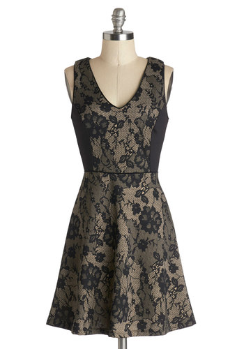 You're All Invited Dress - Mid-length, Knit, Black, Tan / Cream, Lace, Party, A-line, Sleeveless, Good, V Neck, Lace