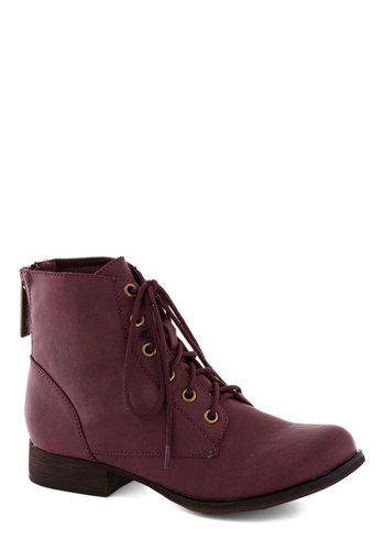 Make Manifest Boot in Berry - Faux Leather, Purple, Solid, Low, Good, Lace Up, Casual, Military, Variation
