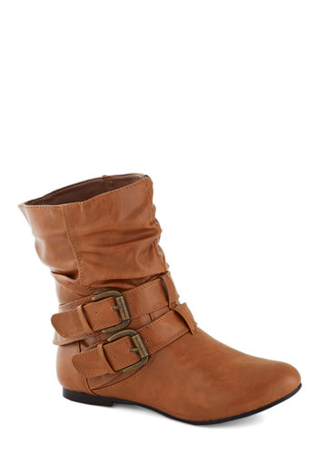 Spruce Up Your Style Boot in Caramel - Faux Leather, Tan, Buckles, Flat, Good, Solid, Variation, Winter, Best Seller