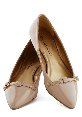 Newsreel Deal Wedge - Low, Tan, Solid, Buckles, Work, Good, Faux Leather